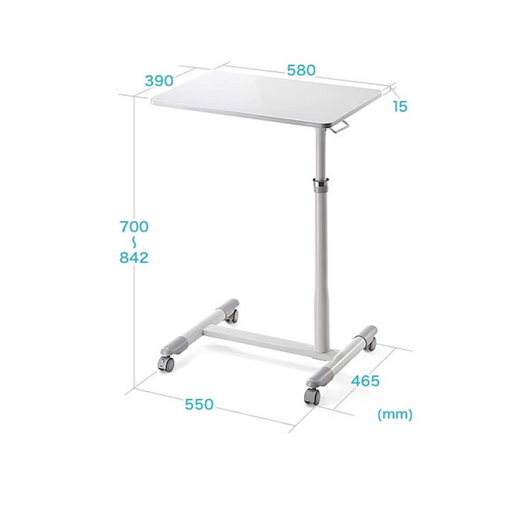 Laptop Mobile Table Height-Adjustable Portable Mobile Computer Desk Cart Bedside Lazy Laptop Stand Color : White