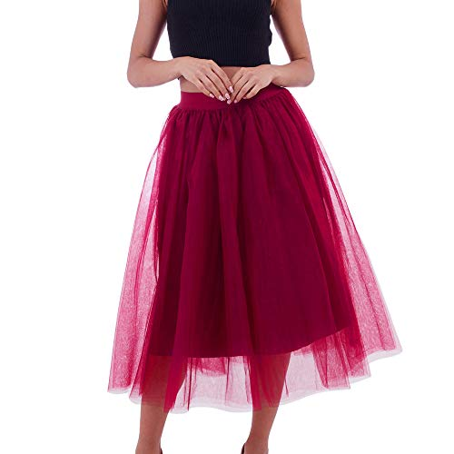 Xmiral Damen Mesh Tüllröcke Plissee Prinzessin Mesh Bubble Petticoat Elastisch Röcke(A-Rot)