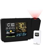 Kalawen Reloj Despertador de Proyección Digital Estación Meteorológica Multifuncional con Sensor Exterior Dentro y Fuera de la Pantalla LCD Alarma Dual Hora Fecha Día de la Semana Temperatura Humedad