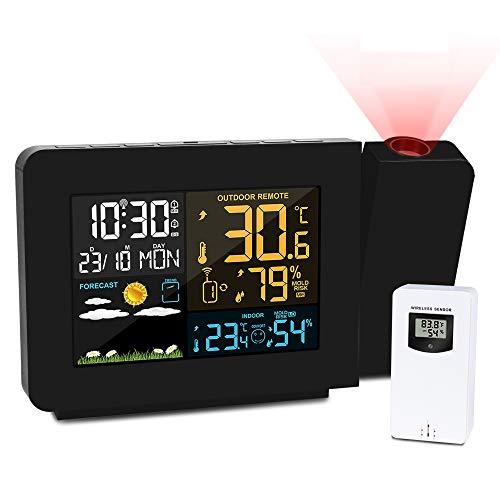Kalawen Projektionswecker Digitaler Wecker multifunktionale Wetterstation mit Außensensor Innen und Außen LCD-Anzeige Dual-Alarm Uhrzeit Datum Wochentag Temperatur Luftfeuchtigkeit