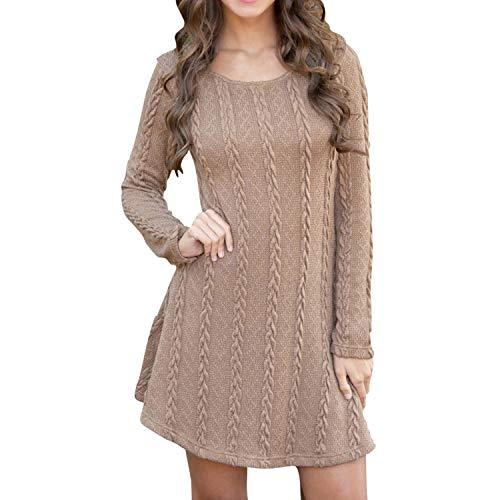 LAEMILIA Damen Kleid Lang Ärmel Strickkleid Frauen Knielang Kleider Rundhalsausschnitt Einfarbig Zopfmuster Winter Herbst Freizeitkleid