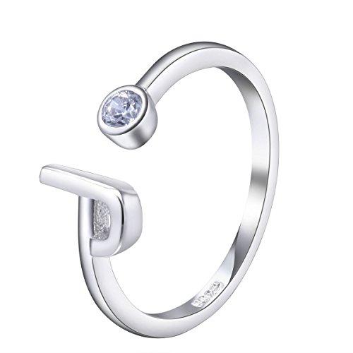 VIKI LYNN Women Ladies Girls 925 Sterling Silver Adjustable J Initial Rings Size J