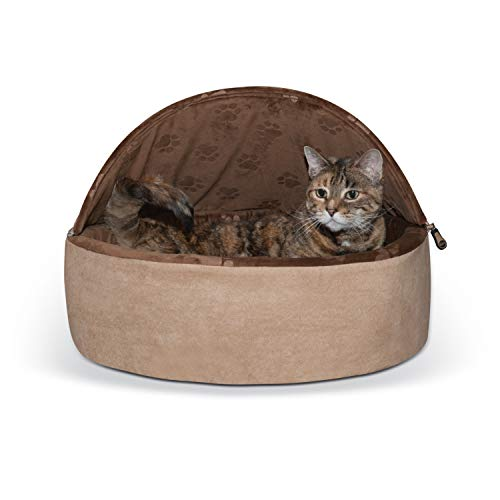 K&H Pet Products Self-Warming Kitty Bed Hooded Pet Bed for Cats or Dogs Chocolate/Tan Large 20 Inches