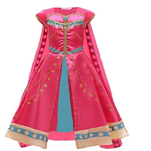 EMIN Disfraz de Aladdin para niña de jazmín, vestido de princesa para danza del vientre, Navidad, Halloween, carnaval, fiesta, tamaño