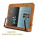 SUNFICON Cookbook Stand Book Holder 32cm x 25cm Bamboo Reading Rest Large Book Stand Textbook Magazine Recipe Music Document Tablet PC Display Stand Adjustable Tray Gift for Family Friend Student