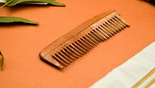 SVATV Peigne en bois de margousier fabriqué à la main N-5 (10,2 x 2,5 cm)