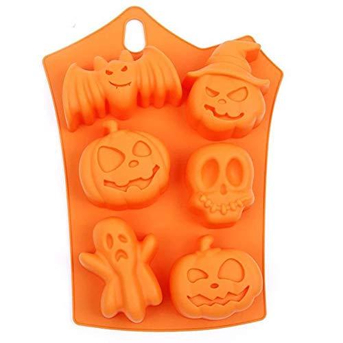 6 Agujeros Calabaza de Halloween con Forma de Silicona Blanda DIY Magdalena de Chocolate Molde para Hornear Molde Bandeja de Cubitos de Hielo (Naranja)