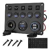 Pannello di commutazione 12 V/24 V, 5 marce, doppio USB, caricatore accendisigari + voltmetro, display impermeabile, interruttore a levetta per auto, barca, SUV, camion, camper, veicoli da cantiera