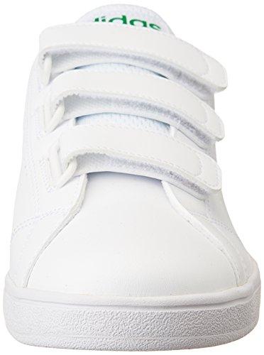 adidas Vs Advantage Clean Cmf, Zapatillas de Gimnasia Hombre, Blanco (Ftwbla / Ftwbla / Verde), 44 2/3 EU