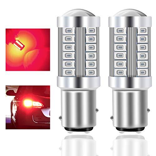 Teguangmei 1157 BAY15D P21/5W Lampadine LED per Auto Rosso 900LM Super Luminosi 5730 33-SMD LED Freno di Retromarcia Coda Stop Fendinebbia Posteriore Luce di Posizione 12-30V 3.6W- 2Pcs