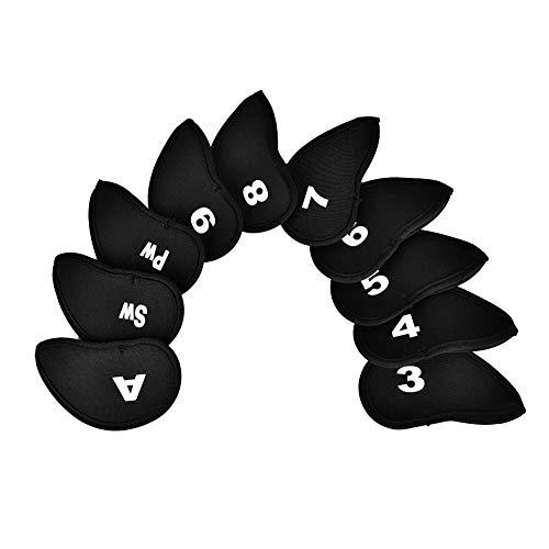 Golf Schlägerkopfhüllen, Golf Club Eisen Schlägerhaube Head Covers 10 Stücke Durable Neopren Golf Eisen Club Queue Kopf Schützen Abdeckung mit Zahlen Buchstaben(Black)