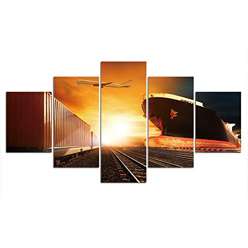MCZQT Foto Transport Boot afbeelding canvas schilderij muurkunst Home Decor wanddecoratie Hd Prints Poster 40x60cmx2 40x80cmx2 40x100cmx1