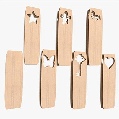 10x Lesezeichen blank Form Holz Basteln Dekoration Malen Aufhängen BOOKMARS