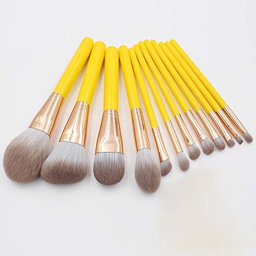 Maquillage Brush Set,12 pièces ensemble complet de blush capacité de réparation poudre poudre fard à paupières nez brosse beauté outils, jaune
