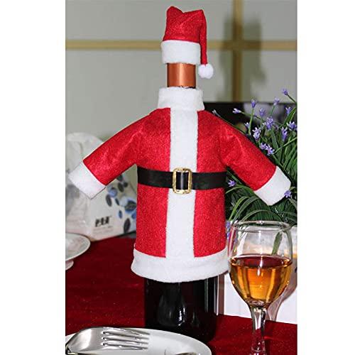 FYLYHWY Decoración Navideña Party Party Decors Santa Claus Botella De Vino Tinto Cubiertas Ropa con Sombreros Cap Cine Decor Party Bolsa De Navidad