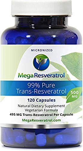 """Mega Resveratrol, Pharmaceutical Grade,99% Pure, Isolate, Micronized Trans-Resveratrol, 120 Veggie Caps, 500mg per Capsule. Purity Certified. Absolutely NO Toxic """"inactive"""" Ingredients Added."""