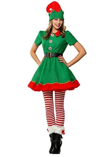Womens Holiday Elf Costume Dress and Hat Elf Costume for Women Medium