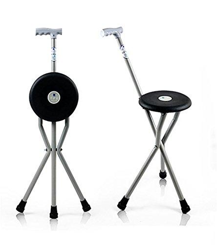 XUAN Plegable portátil de viaje bastón senderismo asiento de campamento taburete silla asiento silla plegable médico de taburete de caña negro , black