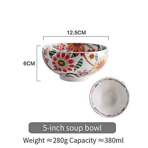 LIXIFF Glasur Schüssel Teller Reis Gemüsesuppe Nudel Schüssel Sauce Servierplatte Geschirr Set, 5 Zoll suppenschüssel