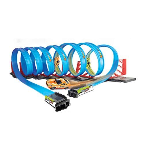 Yissma Track Builder Race Track Set zum Ineinandergreifen vieler Formen für biegsame Kunststoffplatten im Innen- und Außenbereich
