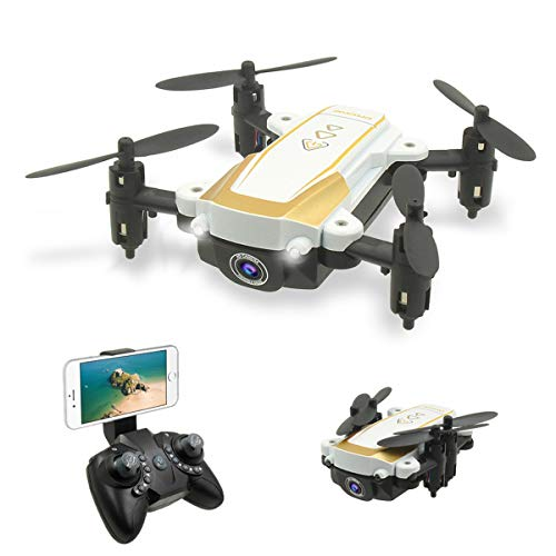 YAHCQ X1W Foldable Mini Drone with 4K HD Camera, Wifi FPV RC Quadcopter, Trajectory Flight, 3D Flips, Intelligent Height Setting, Headless Mode, Suitable for Children And Beginners,White,4K