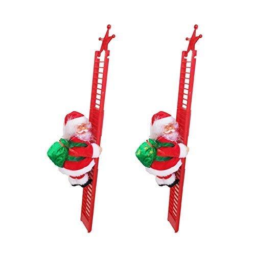 1/2 stück 2020 weihnachten kreative dekorationenanta claus elektrische klettern hängen weihnachtszierung toyschristmas super klettern santa plüsch puppe spielzeug hängen ornament (rot, 2pc) Chuangze