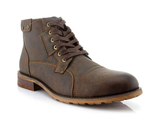 Polar Fox Ronny MPX806037 Mens Casual Work Lace Up Classic Motorcycle Combat Boots - Brown, Size 11