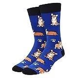 SOCKFUN Corgi Socks for Men Boys Novelty Funny Crew Dog Socks Dog Paw Socks for Animal Lovers Gift