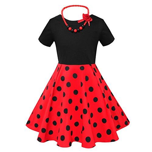 HBBMagic Kurzarm Rockabilly 50er Vintage Retro Kleid mädchen Baumwolle Kleid Polka Dots Faltenrock mit Halskette Zubehör Geschenke für Kinder ,8 Jahre,Roter / Schwarzer Tupfen