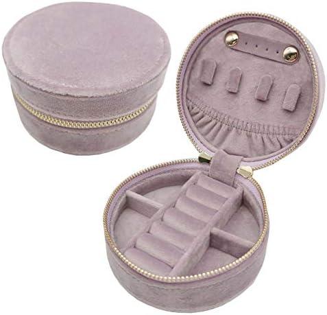 Small Round Velvet Jewelry Box Organizer Display Case For Women Travel Storage Lavender product image