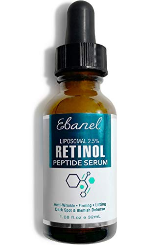 Ebanel Retinol Serum 2.5% with Hyaluronic Acid & Peptides - Anti Aging Serum Anti Wrinkle Eye Serum with Aloe, Witch Hazel, Vitamin C & E, Rapid Wrinkle Repair Night Serum Collagen Peptides Serum Ebanel Laboratories