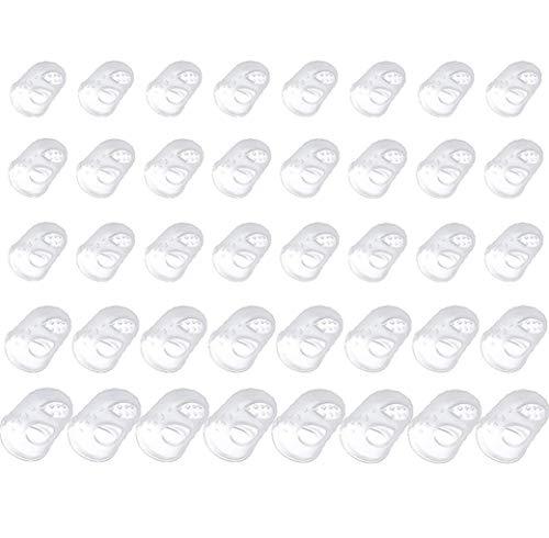 Voarge 40 Stücke 5 Größen Silikon Gitarren Fingerschutz, Gitarre Fingerspitzen Schutz, Gitarre-Fingerschutz Kappen für Saiten Instrumente, Nähen und Sticken(Transparent)