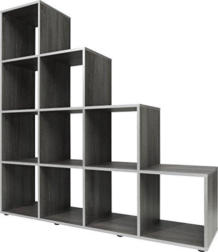 Stufenregal, Holz, silbereiche, 32 x 139 x 141 cm