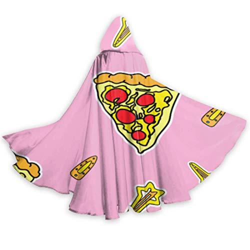 ALALAL Capa de Disfraz de Pizza de joyera Creativa Bonita Colorida con Capucha Capa de Mujer con Capucha de 59 Pulgadas para Disfraces de Cosplay de Halloween de Navidad