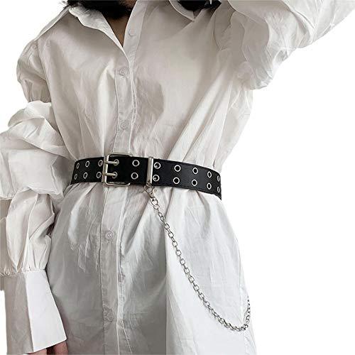 WOIA Pantalones Anchos de Hip-Hop para Mujer, Cadena de Anillo de Hierro, cinturón con Orificio para el Ojo de Vapor de Escape Doble, Negro