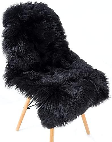 KAIHONG Faux Lammfell Schaffell Teppich (60 x 90 cm) Lammfellimitat Teppich Longhair Fell Optik Nachahmung Wolle Bettvorleger Sofa Matte (Schwarz, 60 x 90 cm)…