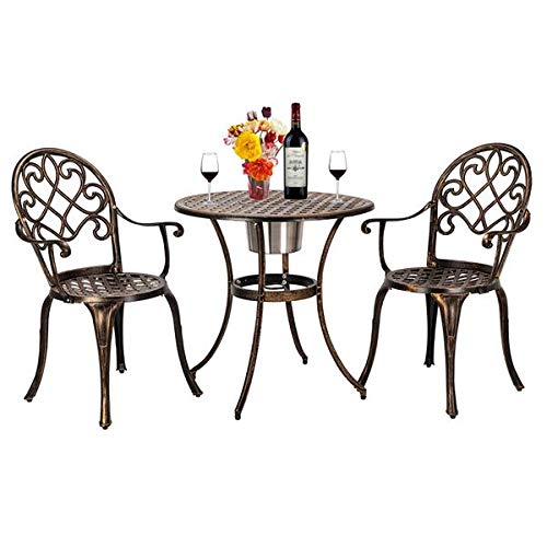 N\C European Style Cast Aluminum Outdoor 3 Piece Patio Bistro Set of Table and Chairs with Ice Bucket Bronze