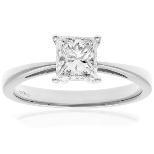 Naava Women's 18 ct White Gold Four Claw J/SI Certified Princess Cut 1 ct Diamond Solitaire Engagement Ring, Size P