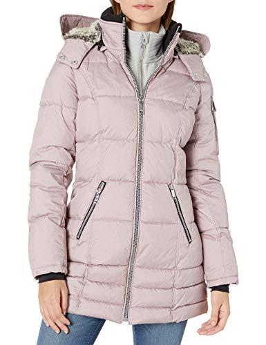HFX Women's 3/4 Puffer with Full Faux Fur Hood, Lilac, Medium
