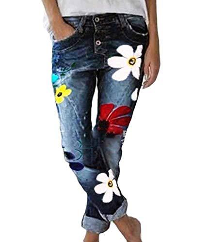 huateng Pantalones Vaqueros de Mezclilla para Mujer Pantalones Vaqueros con Estampado de Flores para Mujer