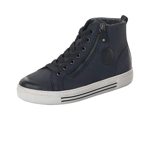 Remonte Damen Sneaker, Frauen High-Top Sneaker, schnürschuh Sneaker-Stiefel mid Cut weiblich Lady Ladies feminin,Blau(Pazifik),39 EU / 6 UK