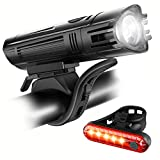 Defurhome Bike Lights Set, Powerful LED USB Rechargeable Front Headlight and Back Taillight