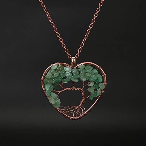 LPNJLALA Collar de corazón con Colgante de árbol de la Vida Hecho a Mano, Cadena de Cobre para Mujer, joyería de Piedra Natural Chakra