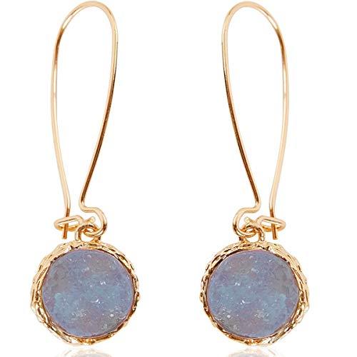 Humble Chic Simulated Druzy Threaders - Boho Glitter Upside-Down Long Hoop Dangle Drop Earrings for Women, Periwinkle, Dusty Slate Blue, Sky Blue-Purple, Lavender, Gold-Tone