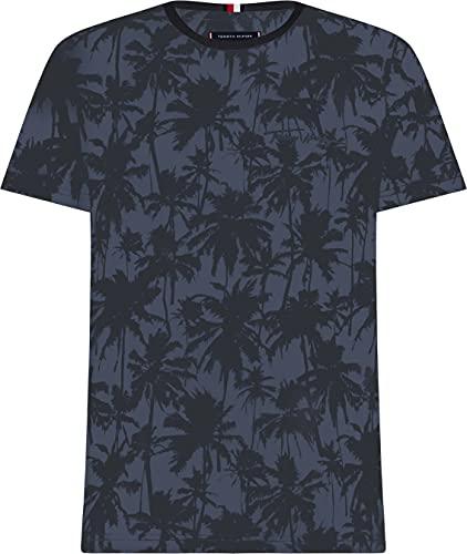 Tommy Hilfiger Herren All Over Print Tee T-Shirt, Faded Indigo, L