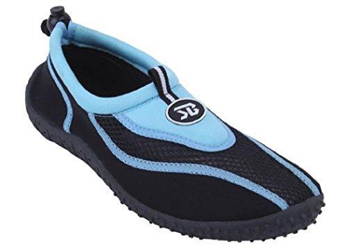 Bayville New Mens Slip on Water Pool Beach Shoes Aqua Socks (12, Blue 5907)