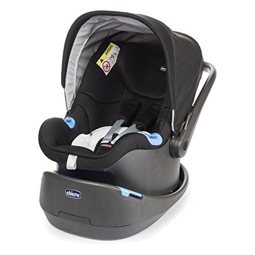 Chicco 07079580410000 Babyschale Oasys 0+, Babytrage, mit Sitzverkleinerer, Standard-Basis, Verdeck, verstellbarem Kopfteil, schwarz
