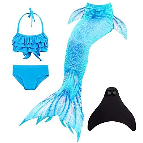 onlight Mädchen Meerjungfrauen mit Meerjungfrau Flosse zum Schwimmen 4 Stück Set Prinzessin Cosplay Badeanzug