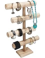 Belle Vous Expositor Pulseras de 4 Niveles para Joyas – 48 cm de Alto – Expositor Organizador Relojes, Collares, Brazaletes, Coleteros y Brazaletes – Barra T de Sobremesa – Torre para Joyas