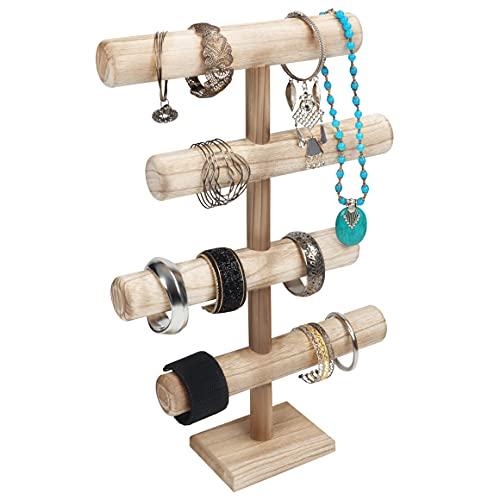Belle Vous 4 Stufen Schmuck Ständer Holz Ketten Aufbewahrung Schmuck Organizer - 48 cm Hoch - Schmuckbaum für Ketten, Armbänder, Uhren, Scrunchies und Armreifen - T Bar Nachttisch Organizer Schmuck